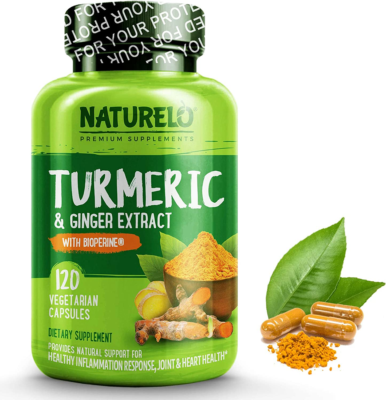 NATURELO Organic Turmeric Curcumin - BioPerine for Better Absorption - 95% Curcuminoids, Natural Black Pepper, Ginger Powder - Anti Inflammatory Supplement for Joint Pain Relief - 120 Vegan Capsules
