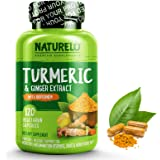 NATURELO Organic Turmeric Curcumin - BioPerine for Better Absorption - Curcuminoids, Black Pepper, Ginger Powder…