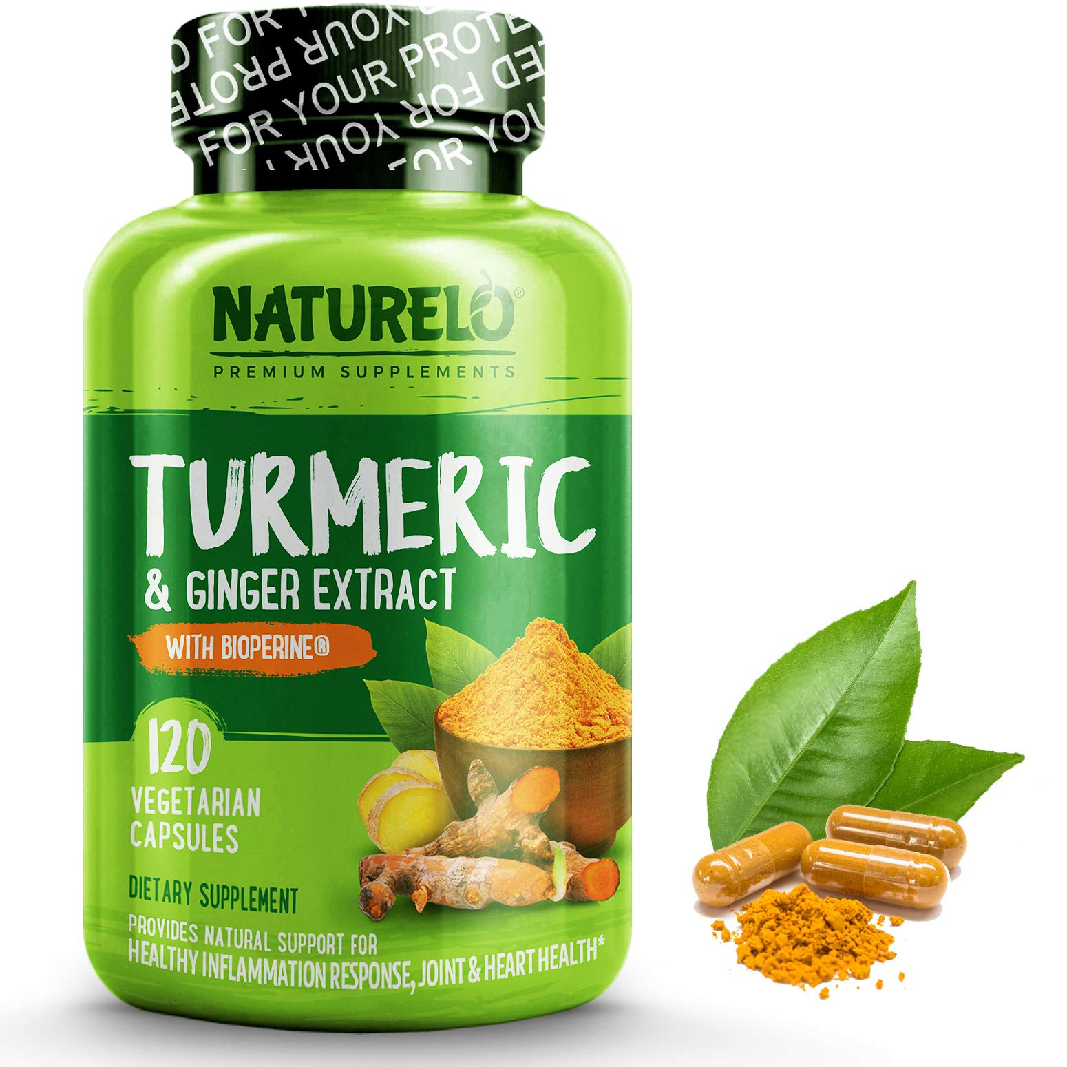 NATURELO Organic Turmeric Curcumin - BioPerine for Better Absorption - 95% Curcuminoids, Natural Black Pepper, Ginger Powder - Anti Inflammatory Supplement for Joint Pain Relief - 120 Vegan Capsules by NATURELO