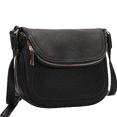 c622c4f732ac Dasein Front Flap Crossbody Bag (Black)  Handbags  Amazon.com