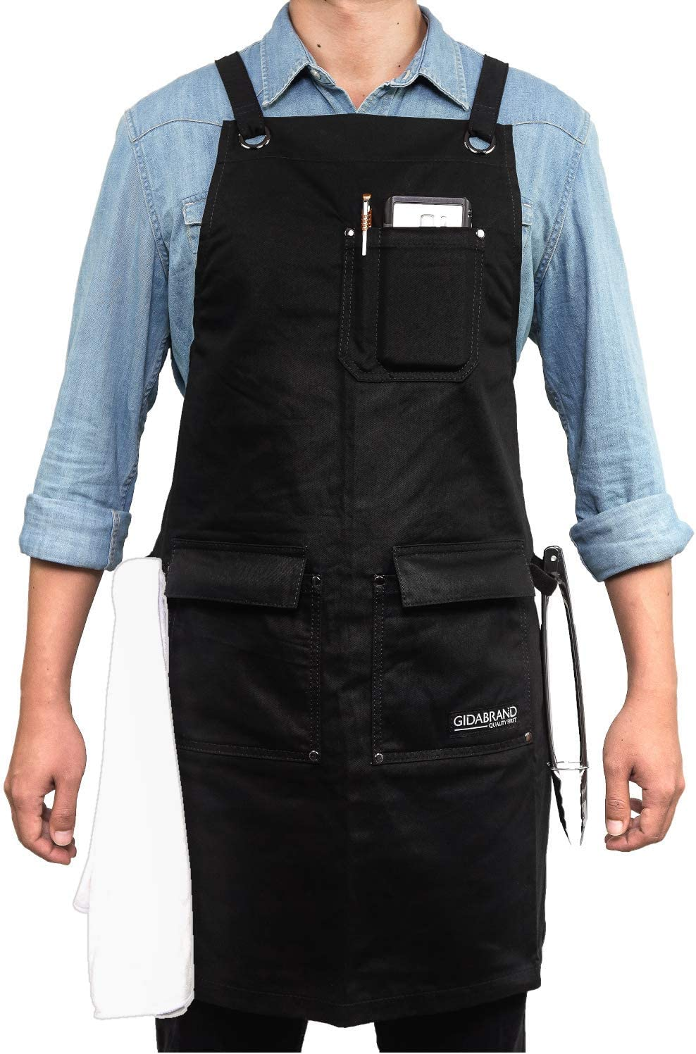 for Perfect Fit and Comfort M to XXL for Kitchen 10 oz Cotton Professional Grade Chef Apron Pockets Headphone Loop BBQ Cooking and Grill Ideal Aprons for Women and Men Fully Adjustable