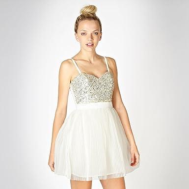 Lipsy Vip Cream Sequin Bodice Prom Dress