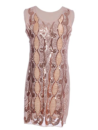 f2e73133f903 Anna-Kaci S/M Fit Beige Intricate Swirl Pattern Sequin and Ribbon Trim Dress:  Amazon.co.uk: Clothing