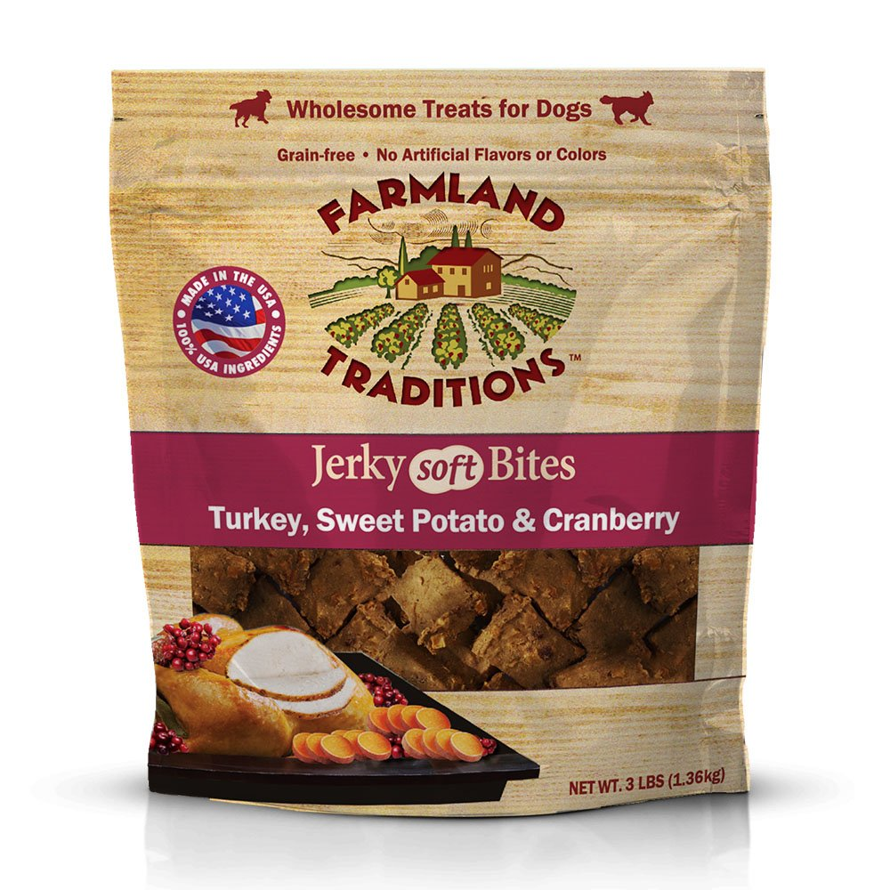 Farmland Traditions USA Made 3 lbs. Turkey, Sweet Potato, Cranberry Soft Jerky Bite Dog Treats