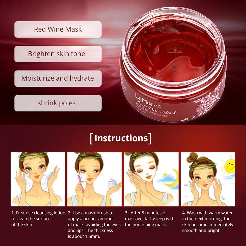 Crema hidratante facial Crema hidratante para el vino tinto Antiarrugas y antiarrugas Brillo Hidratante para la piel - Máscara facial sin necesidad de ...