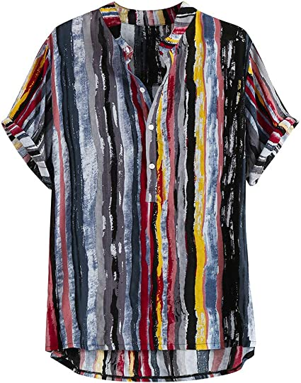 Overdose Camiseta Suelta para Hombre 2019 Camiseta con Cuello Estampado a Rayas de Moda Estilo de Vacaciones de Manga Corta Verano: Amazon.es: Ropa y accesorios