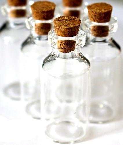 dojore 10 x Mini Botellas de cristal transparente y tapon corcho 5 ml Size- perfecto