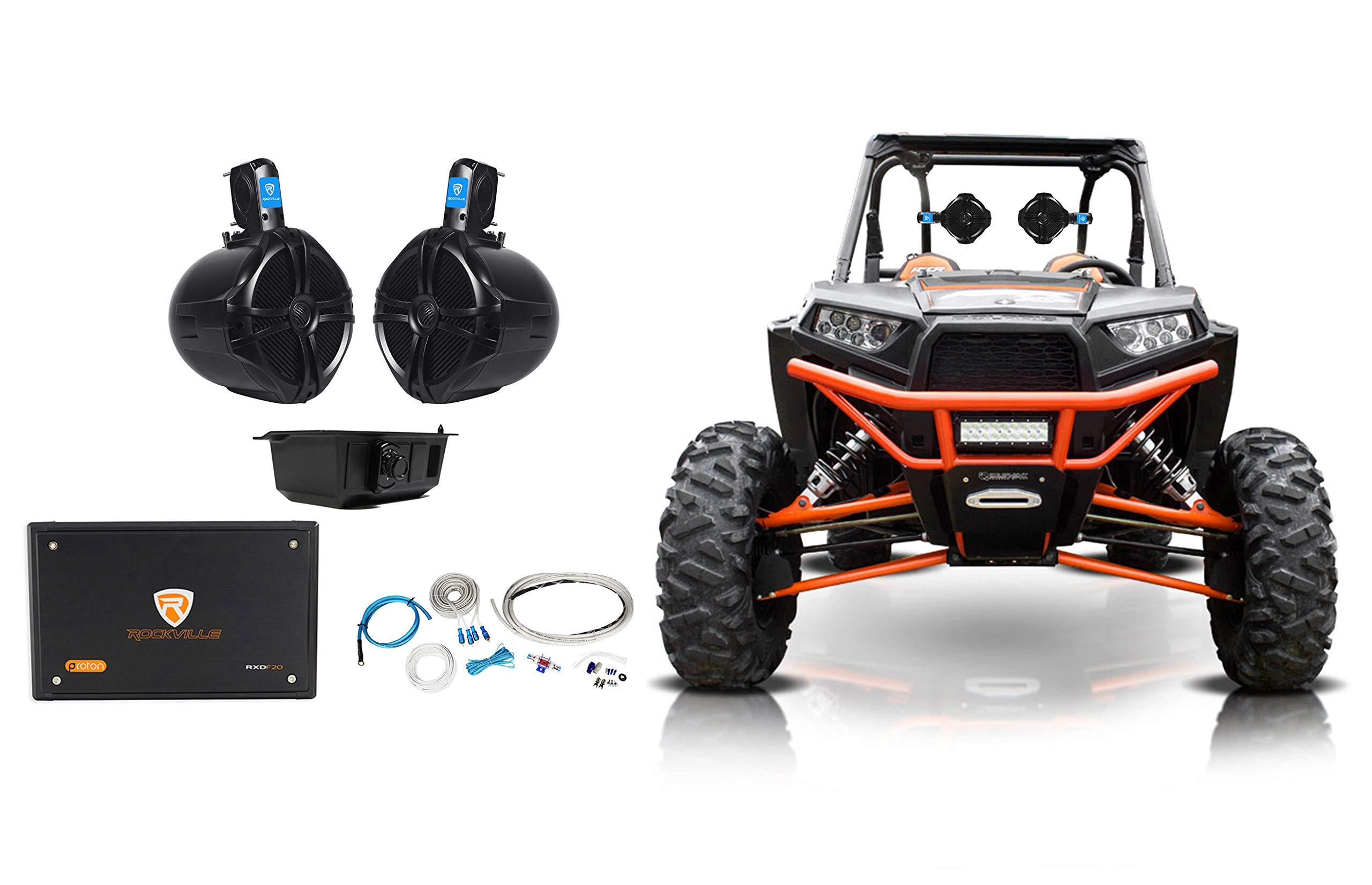2) Rockville 8'' Rollbar Speakers+4-ch Amp+Bluetooth Contol ATV/UTV/RZR/Polaris