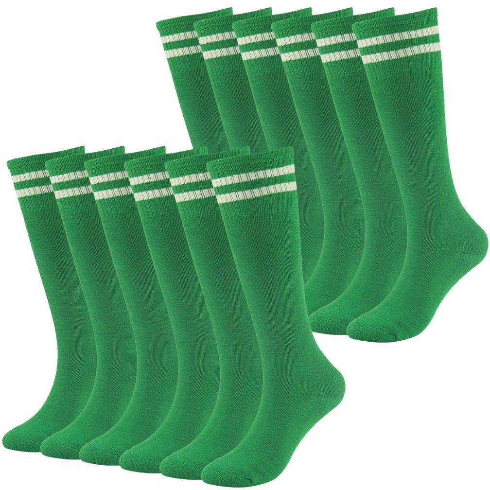Soccer Socks Boys Socks Fasoar Over Knee Striped Half Cushion Athletic Socks 12 Pairs Green by Fasoar