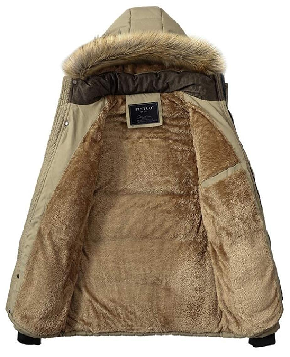 Jmwss QD Mens Winter Fleece Lined Thick Parka Jacket Hooded Coat