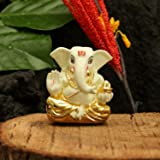 Collectible India Gold Plated Terracotta God Ganesh Murti for Car Dashboard (6cm x 4cm, Off White)