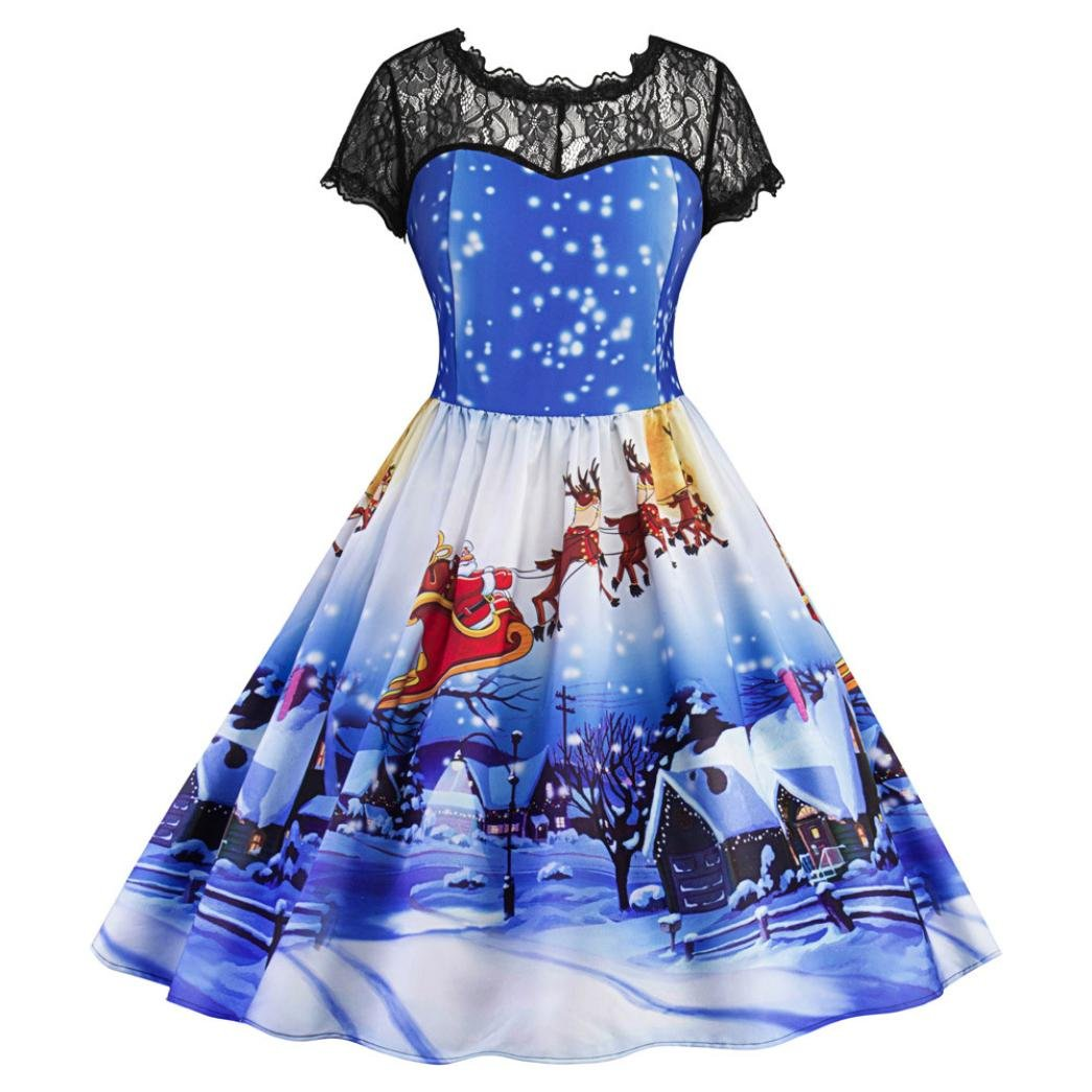 Women Dress Christmas Daoroka Women's Vintage Ball Gown Christmas Xmas Santa Snowman Fancy Lace Party O-Neck Printed Short Sleeve A-Line Swing Gifts Fit Dress For New Year Christmas Party (XL, Blue)
