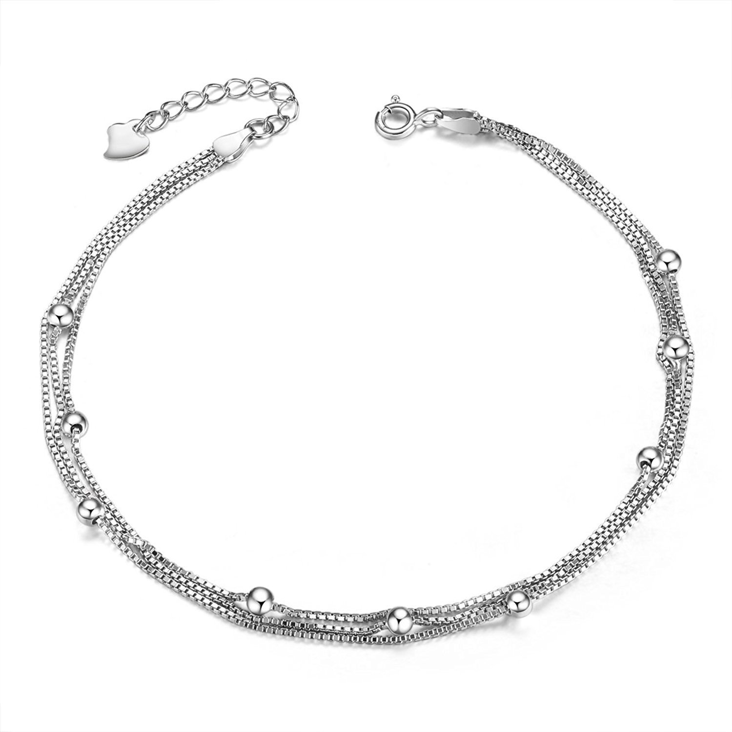 SHEGRACE 925 Sterling Silver Triple Layered Chain Anklets/Bracelet with Tiny Beads for Woman