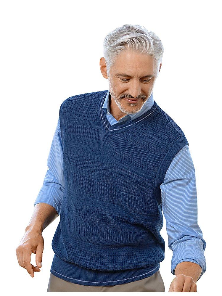Paul Fredrick Men's Cotton Textured V-Neck Vest Dark Blue 2XL