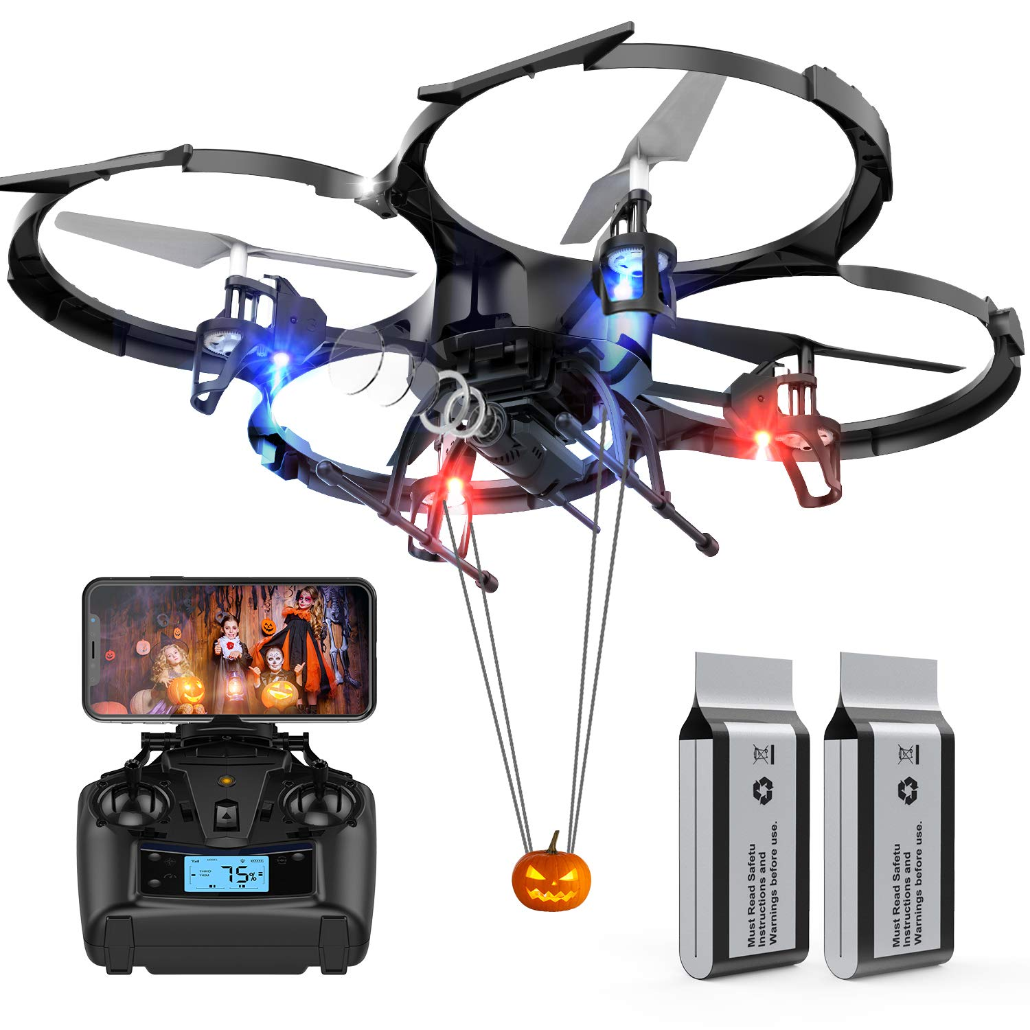 Drones with Camera-DBPOWER U818A Discovery FPV 720P HD WiFi Camera Drone,RC Quadcopters UAV for Beginners & Kids/Adults with 2 Batteries,Altitude Hold,Headless Mode,3D Flips,One Key Take Off/Landing by DBPOWER