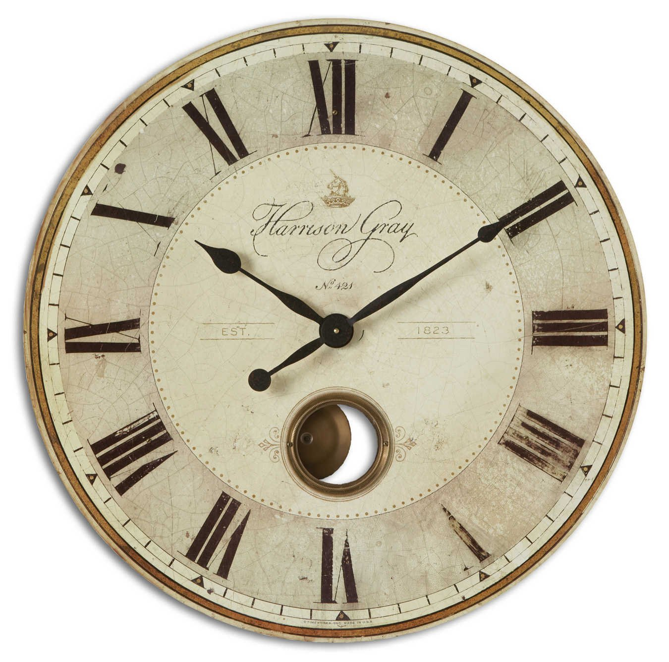 amazon com uttermost harrison gray 30 inch wall clock home kitchen