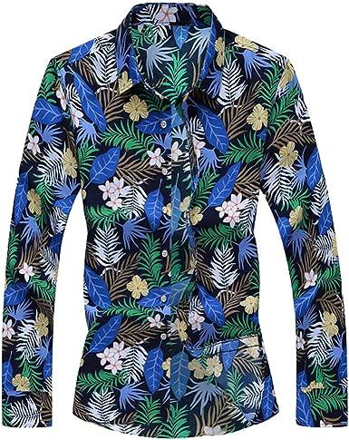 CAOQAO Camisa Hawaiana Hombre Verano Manga Larga Casual Estampado Floral 2019 Moda 13 Tipos: Amazon.es: Ropa y accesorios
