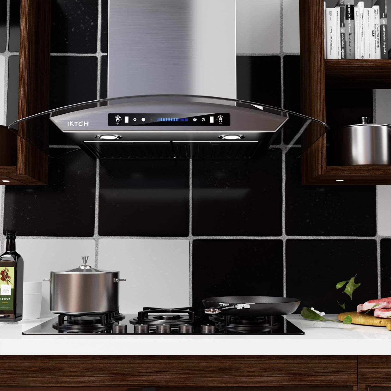 IKTCH 30 inch Bullet-in//Insert Range Hood 900 CFM with 2 Pcs Adjustable Lights and 2 Pcs Baffle Filters with Handlebar Stainless Steel Kitchen Vent Hood