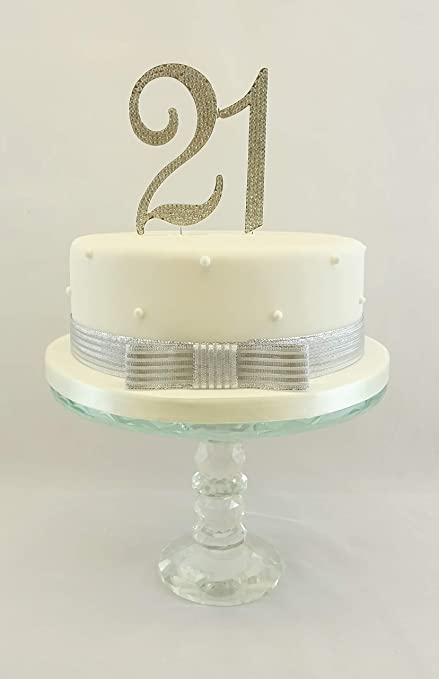 21st Birthday Cake Topper Extra Large Number 11cm Silver With Sparkling Rhinestones Ribbon Set Amazoncouk Kitchen Home