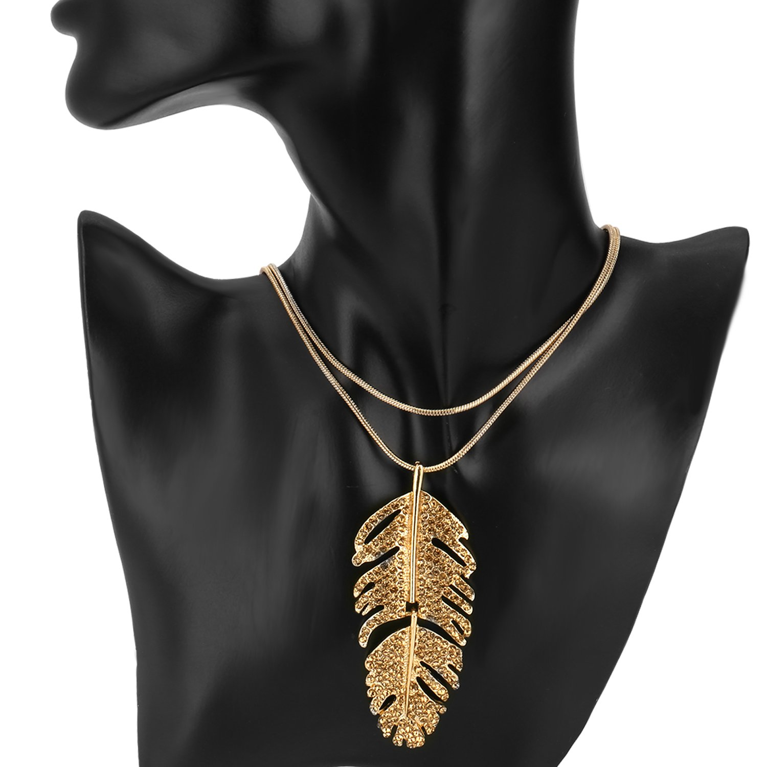 Pendant Necklace, UHIBROS Feather Pendant Choker necklace with pendant Wing choker necklace with pendant necklace (Gold)