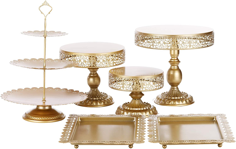 BOLATU Cake Stands Set,6 Pcs Metal Round Cake Stands Set Cupcake Stands Set Birthday Party Wedding Party Arternoon Tea Dessert Display Stands,Gold