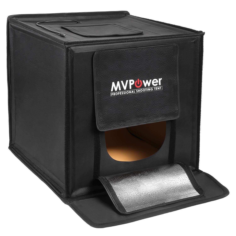MVPOWER Photo Light Studio Box - 16x16 Portable Photo Shooting Studio Professional Photography Tent with LED Light 4 Backdrops (White Black Orange Green)
