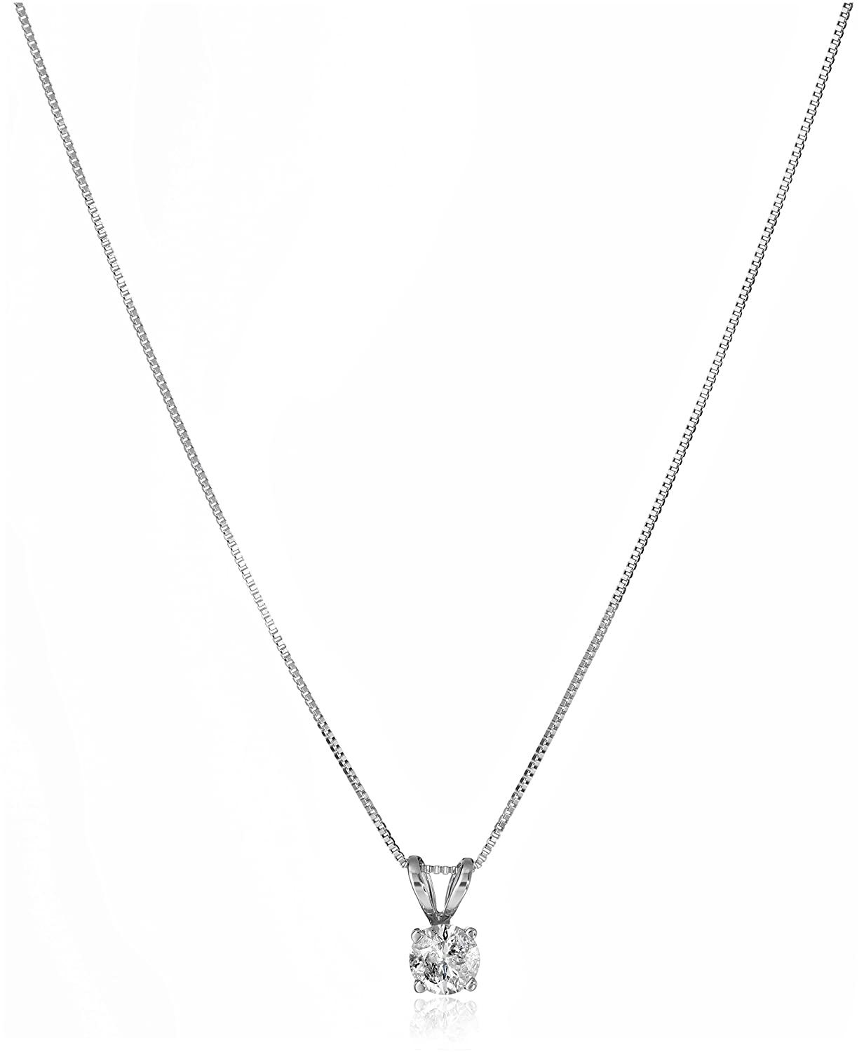 """10k White Gold and Diamond Solitaire Pendant Necklace (1/4 cttw), 18"""""""