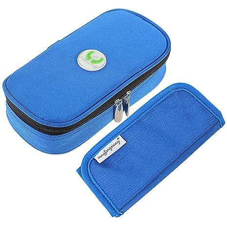Vococal - Portátil Bolsa Isotérmica de Insulina Diabética/Bolsa de Enfriamiento/Estuche de Viaje para de la Insulina y Otros Medicina (Azul)
