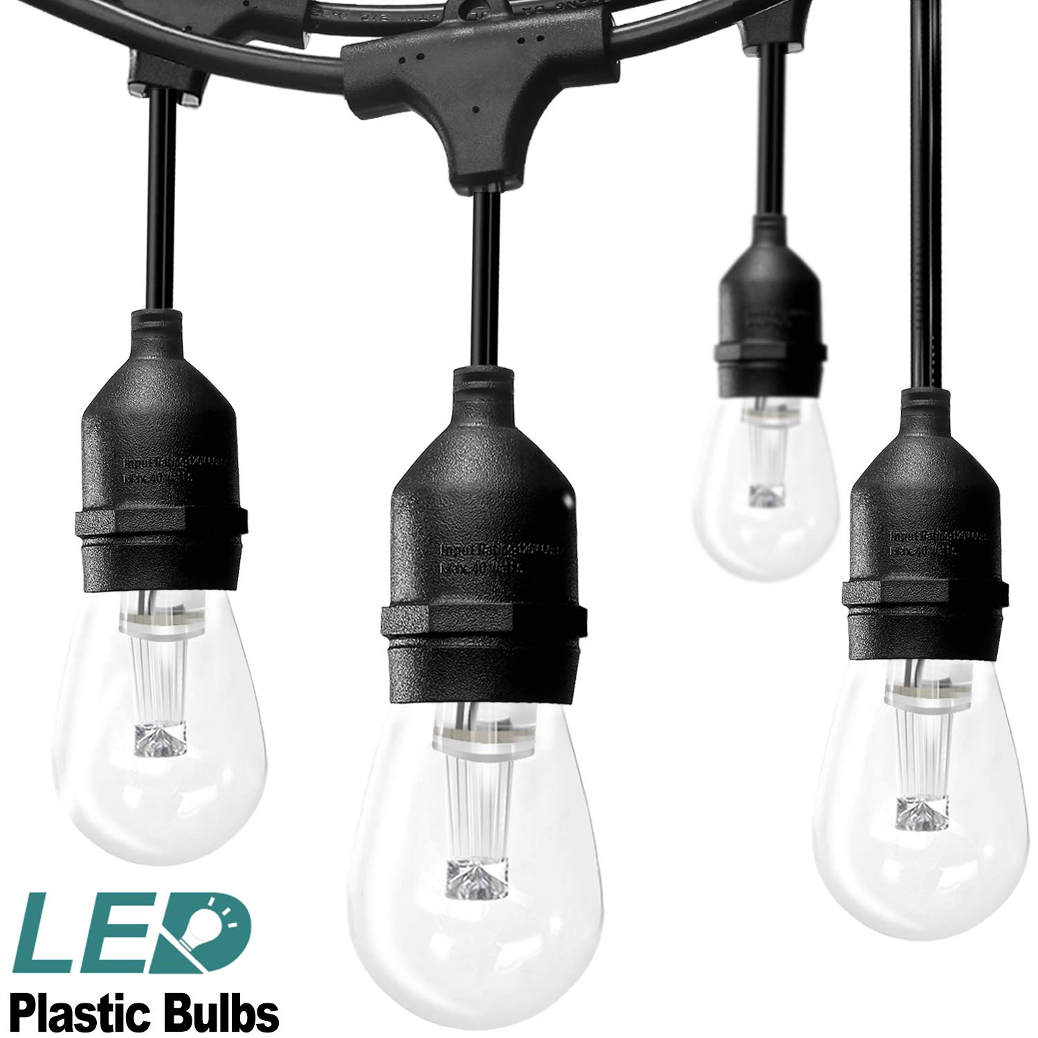 48FT LED Outdoor String Lights Commercial Great Weatherproof Strand with Dimmable 2W Edison Vintage Bulbs and Hanging Sockets - UL Listed Heavy-Duty Decorative Café Patio Lights for Bistro Garden Wed by addlon