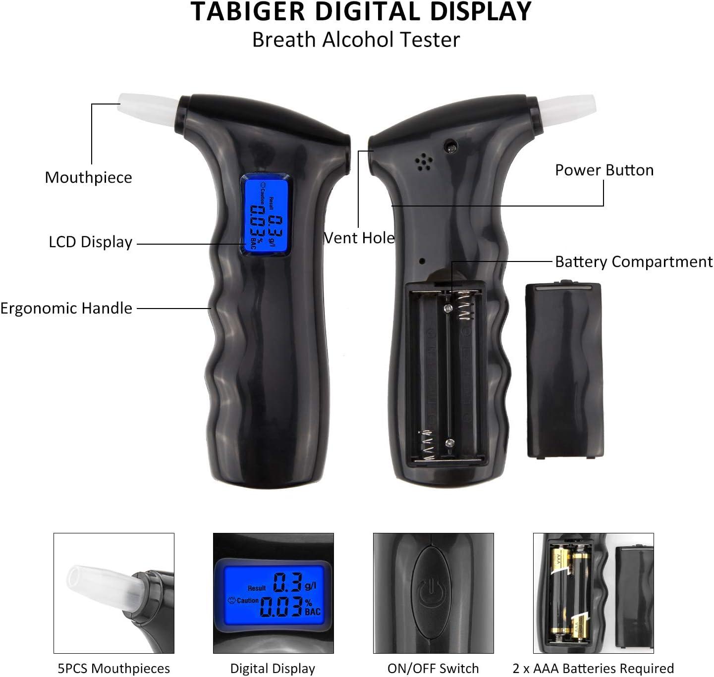 TABIGER Breathalyzer Portable Breath Alcohol Tester Digitale con Display LCD Alcol rivelatore analizzatore di precisione con 5PCS bocchini 2019/Versione aggiornata