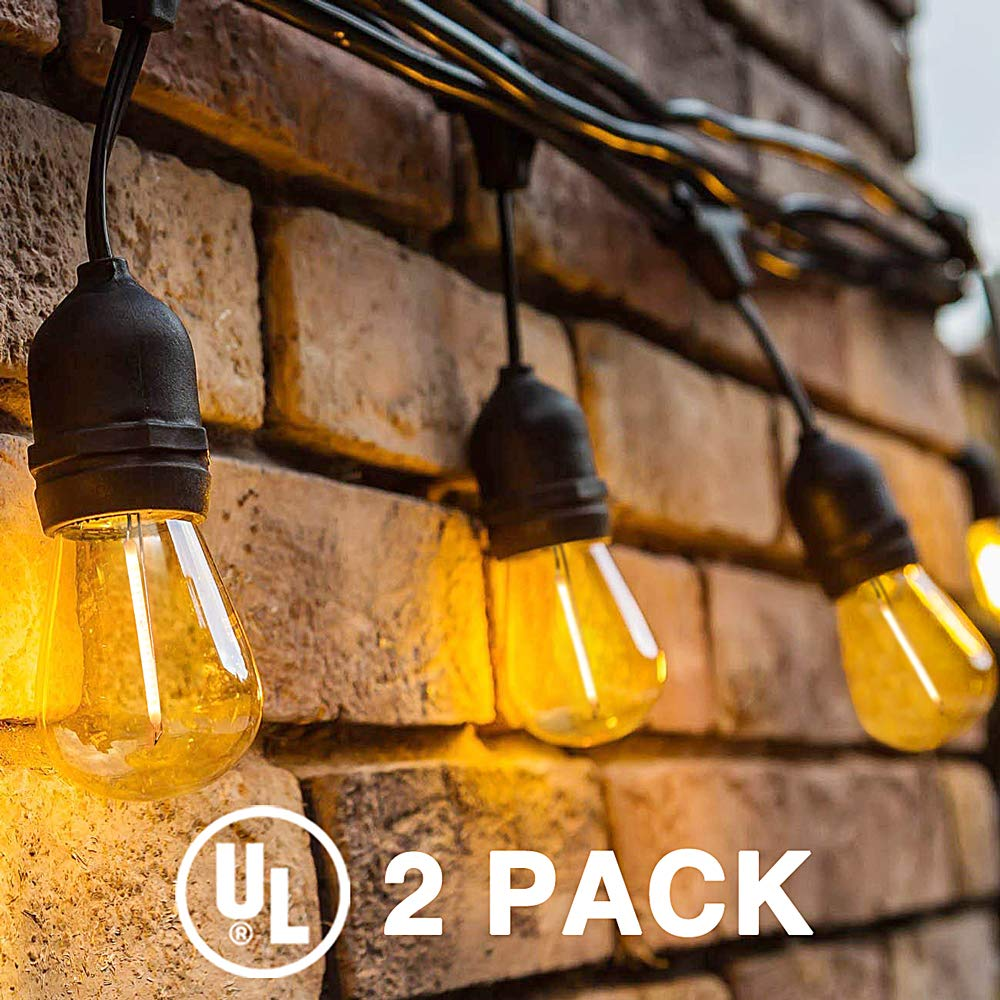 Delxo 2-Pack 48FT LED Outdoor String Lights Weatherproof Shatterproof 15 E26 Sockets 16 x 1W S14 Bulbs (1 Spares) Edison LED String Lights Perfect for Patio Cafe Wedding Party UL Listed