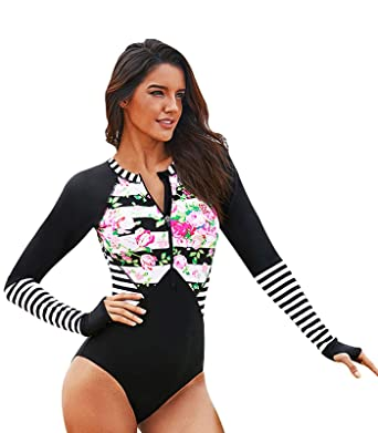 5aa2917cdb FASFF Women Tankuni Floral Striped Patchwork Rashguard One-Piece Swimsuit  and a Sunscreen Scarf Shawl