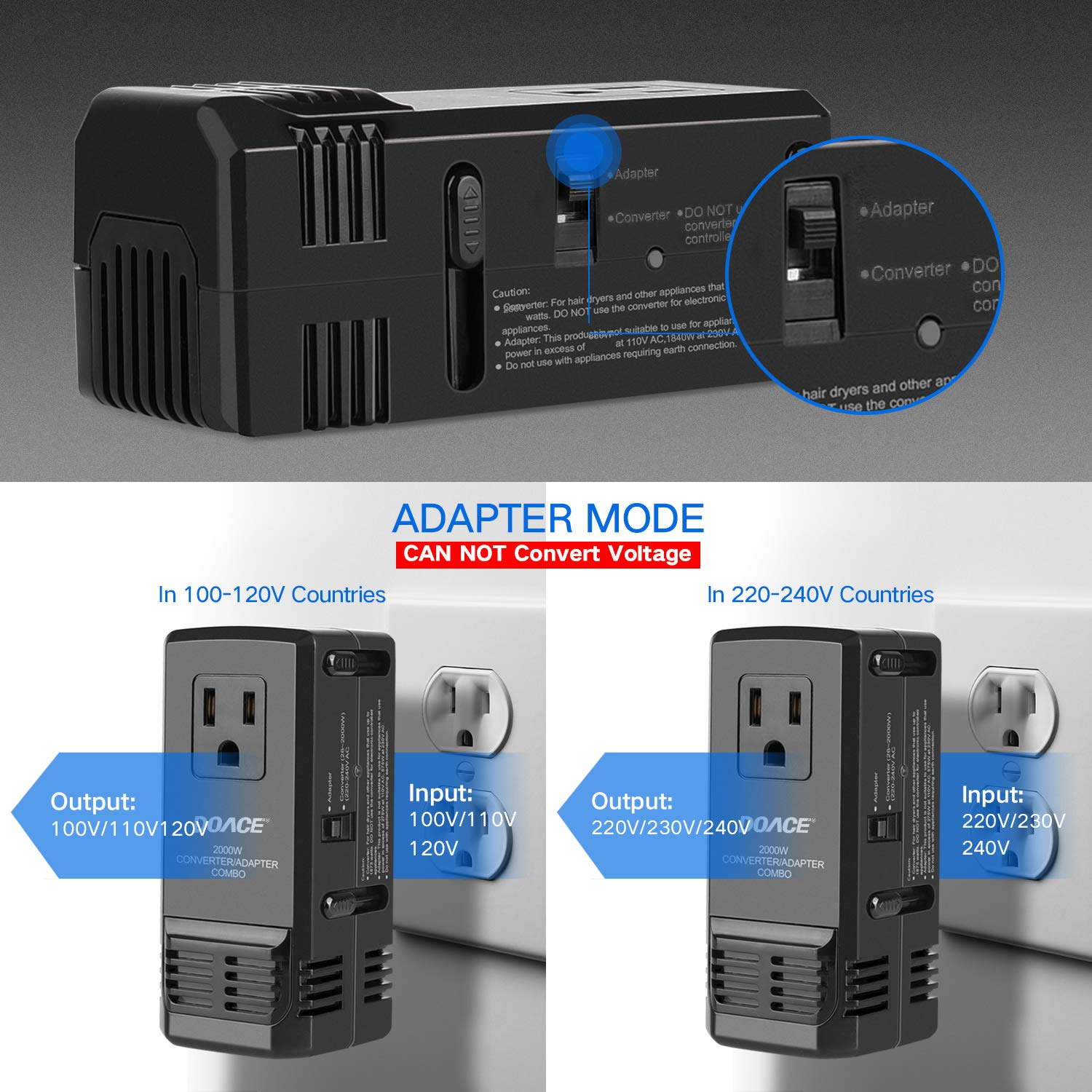 C11 Power Transformers UK//AU//US//EU Plug Adapter Set Down 220V to 110V International Travel Transformer Hair Straightener Flat Iron 2018 Upgraded DOACE 2000W Voltage Converter for Hair Dryer