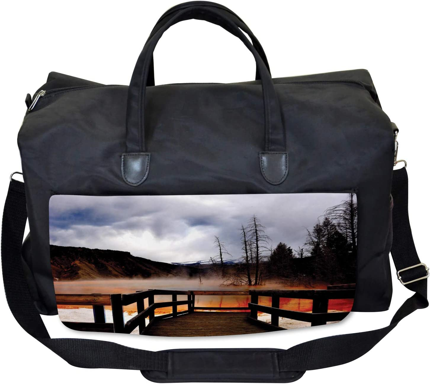 Hot Spring Scenery Large Weekender Carry-on Ambesonne Yellowstone Gym Bag