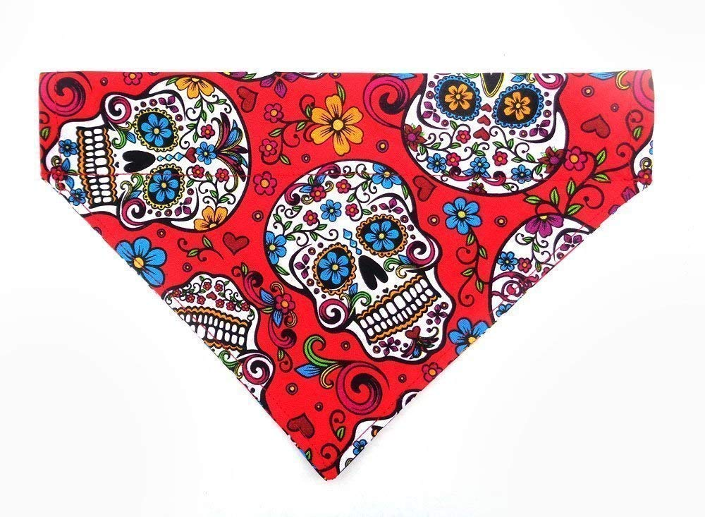 Sugar Skull Calavera Day of the Dead Cinco de Mayo Dog Bandana, Reversible Over the Collar Slip Thru Thread Through Neckwear Petwear