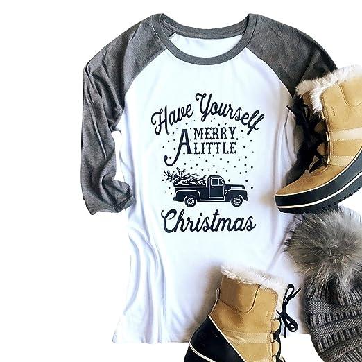 Amazon.com  Ofenbuy Womens Christmas Shirts Baseball Tee Raglan Long Sleeve  T Shirt Fall Merry Xmas Tunic Tops  Clothing be31efaa9