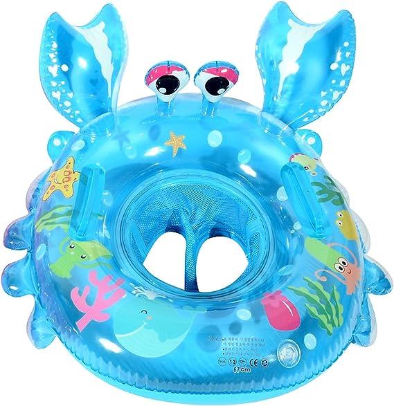 UCLEVER Flotador Cangrejo con Manija para Bebé 6-36 Mes (Azul): Amazon.es: Juguetes y juegos