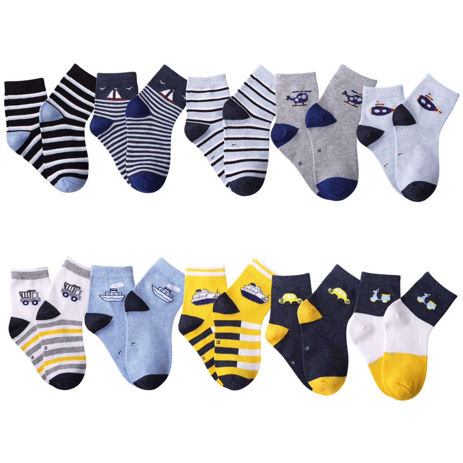 10 Pairs Kids Boys Socks Colorful Novelty Fashion Cotton