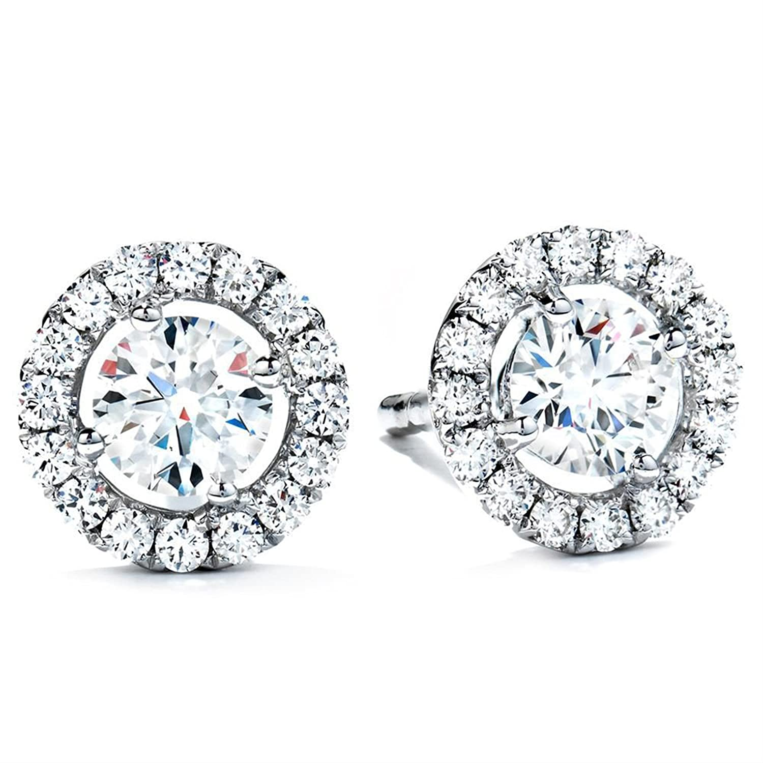 1.80 CT Simulated Diamond ROUND BRILLIANT CUT SOLITAIRE HALO Pave STUD EARRINGS 14K WHITE GOLD ScrewBack Clara Pucci CP|B4EAR|64