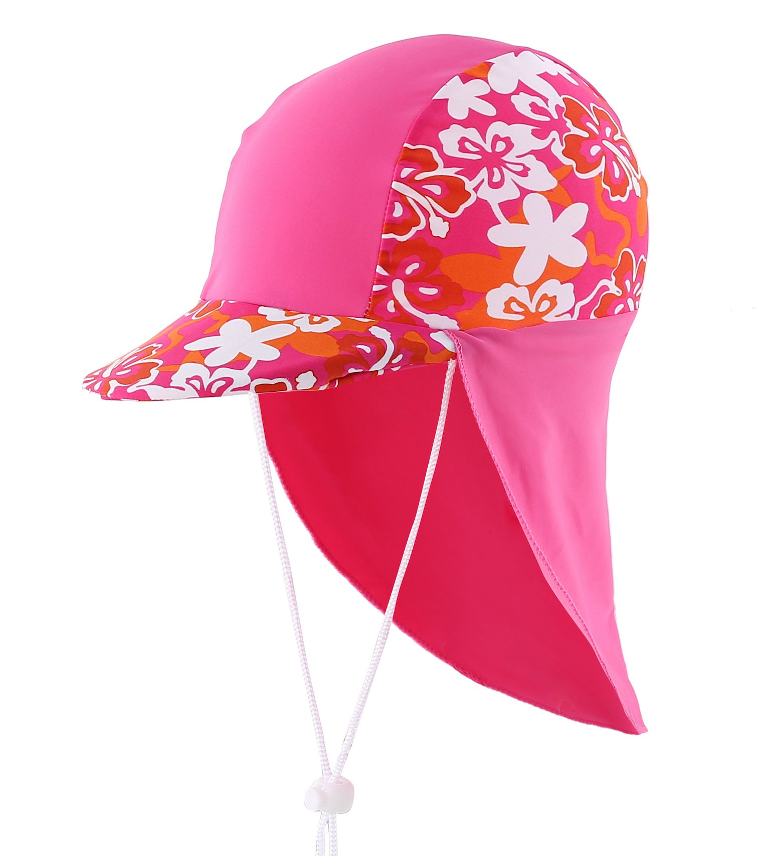 Home Prefer Girls Sun Hat Long Flap Quick Dry Sun Protection Cap with Visor Surf up Swim Hat Flower Hot Pink