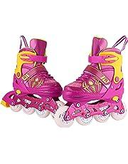 Inline Skates Kinder/Jungen/Mädchen Canvas Design Einstellbare Rollschuhe Kinder Mit Leucht PU Räder Dreifach Schutz Leichte Inline Skates
