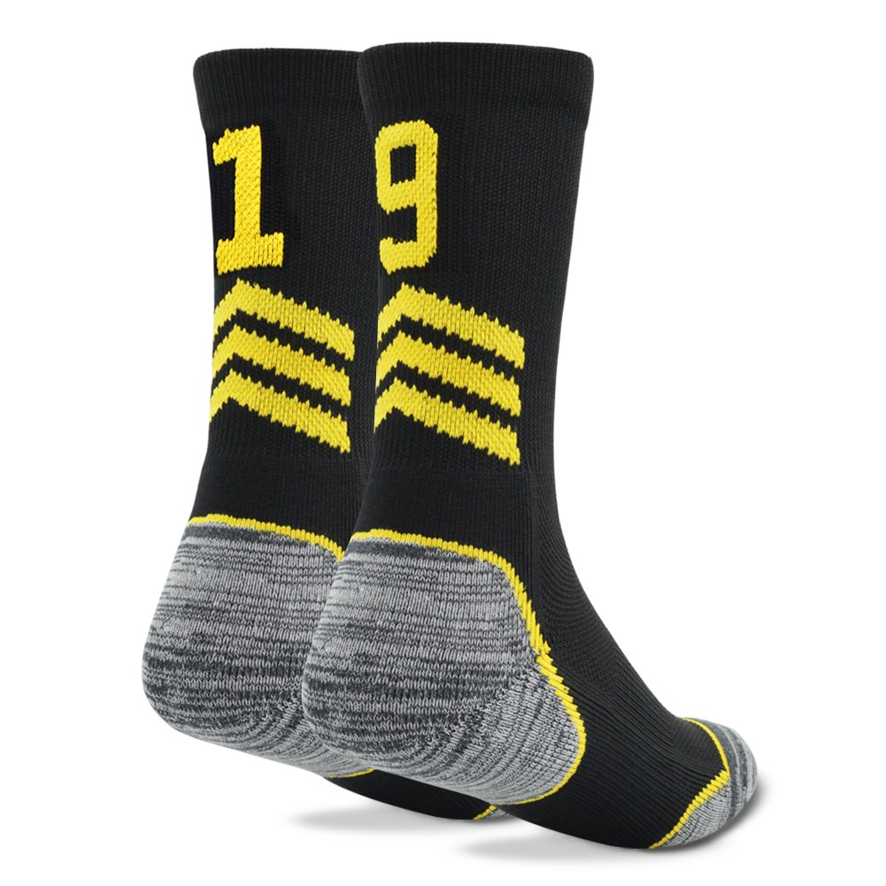 Funcat Cushioned Adult Teen Team Number Sports Crew Socks 1 Pair Black//Gold