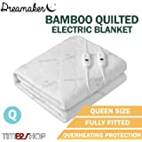 Dreamaker Fully Fitted Washable Natural Bamboo Quilted Electric Heated Blanket - White in Packs of 1, 2 and 4 (1)