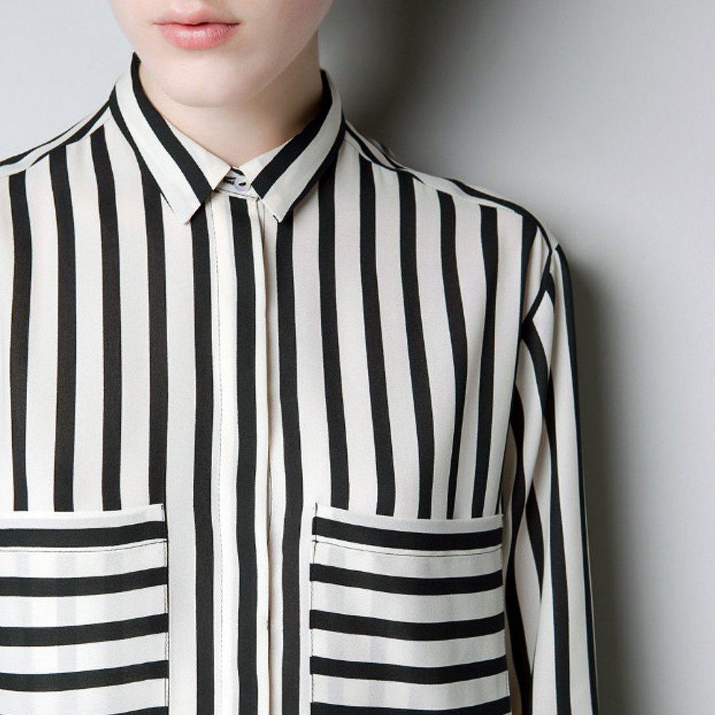 e7fde014 LOCOMO Women Black White Big Pocket Vertical Horizontal Striped Shirt S-M  FFD039 at Amazon Women's Clothing store: Button Down Shirts