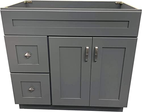 Grey Shaker Single-Sink Bathroom Vanity Base Cabinet 36 Wide x 21 Deep GS-V3621D