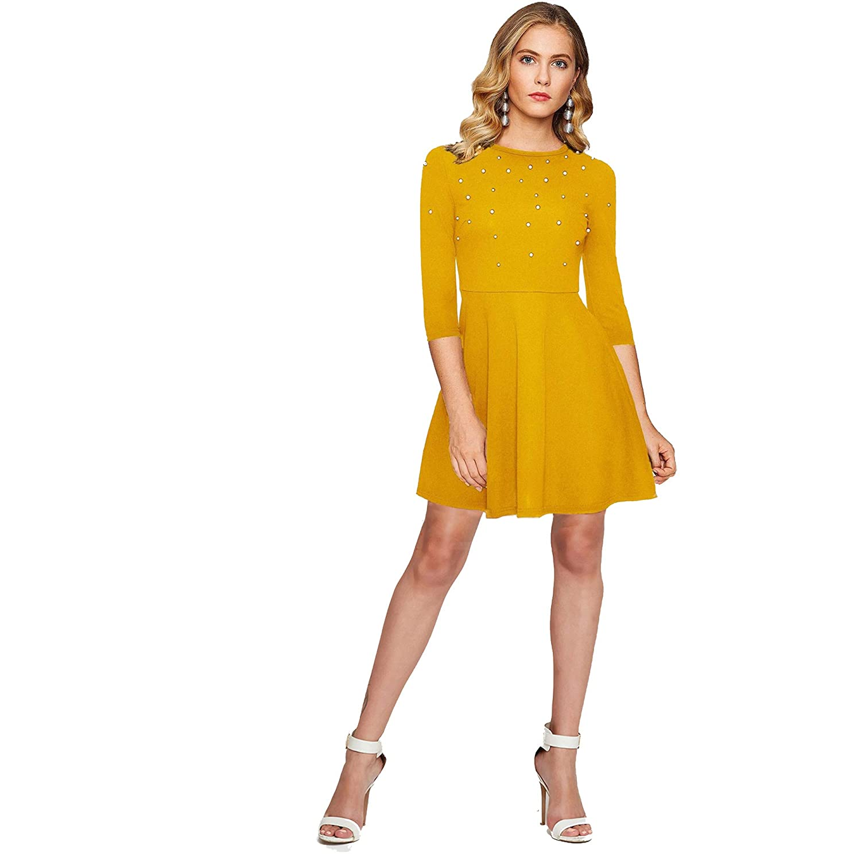 a9e603c4 Addyvero Women's Pearl Skater Dress: Amazon.in: Clothing & Accessories