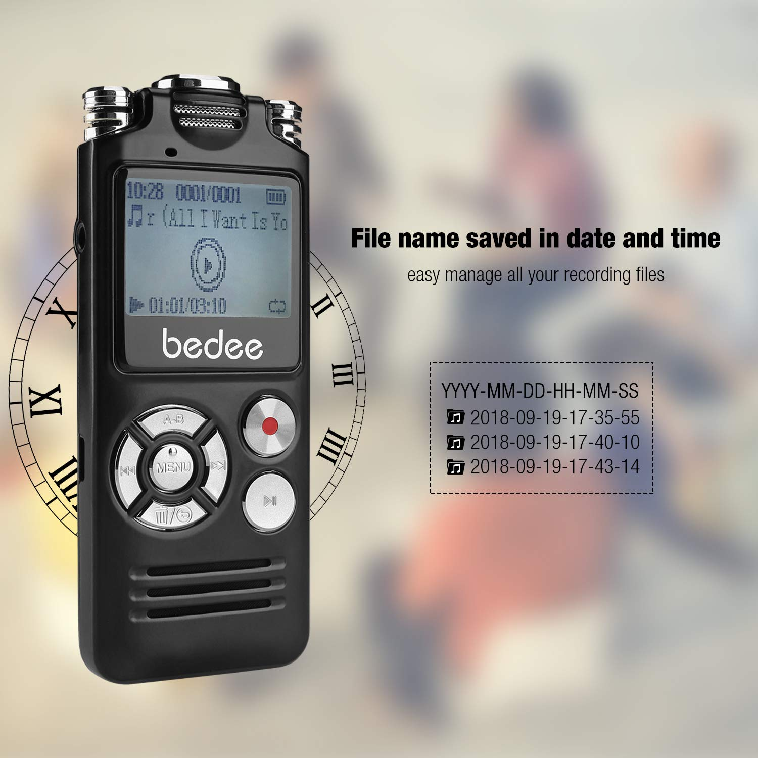 Voice Recorder bedee Audio Recorder Voice Activated Digital Voice Recorder Small Dictaphone Recording Device 8GB Memory 1536kbps/10 Hrs Storage Capacity with 2 Clear Microphone for Interviews Lectures Class Meetings Concert Conference