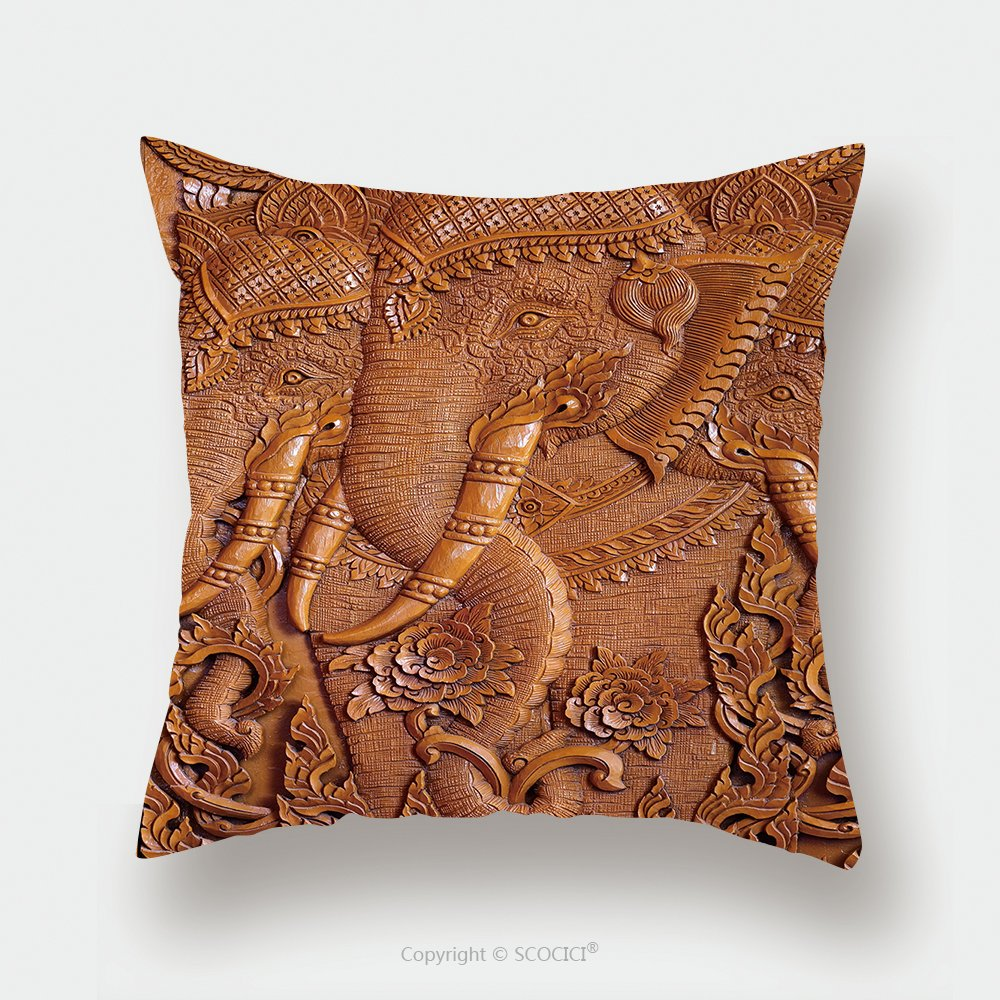 Custom Satin Pillowcase Protector Wood Carving Pattern On The Door Of Thai Temple 471311894 Pillow Case Covers Decorative by chaoran