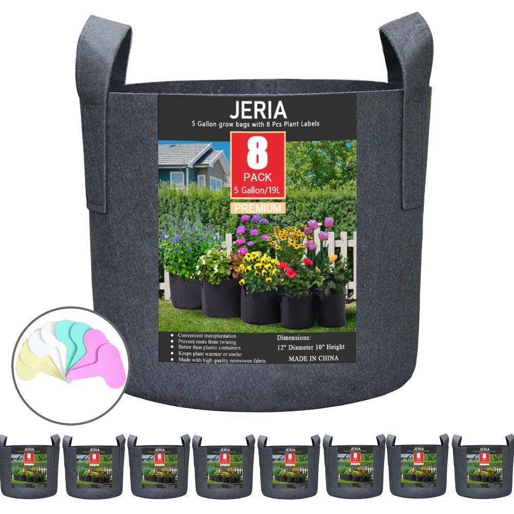 JERIA 8-Pack 5 Gallon Grow Bags, Aeration Fabric Pots with Handles Black