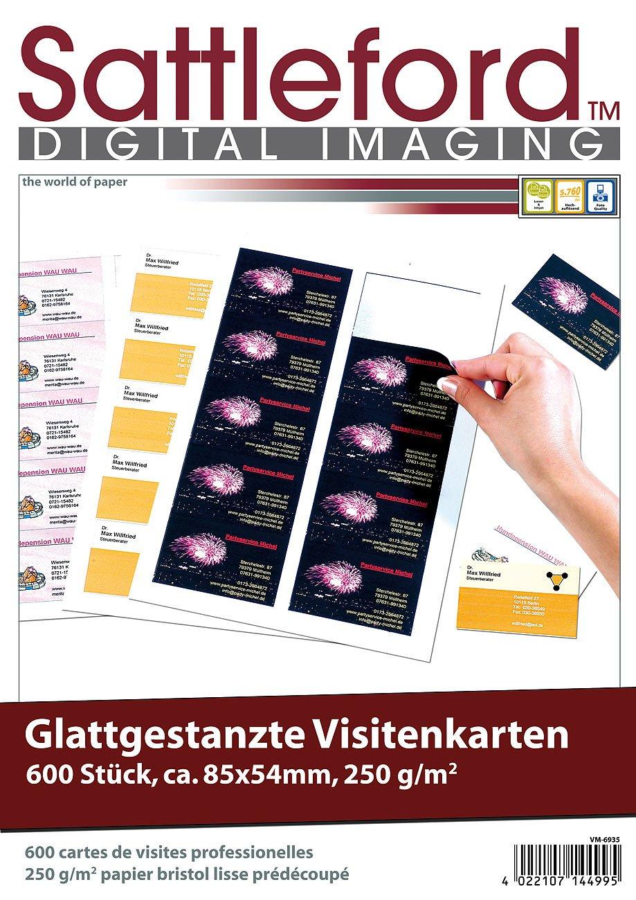 250g//m/² Visitenkarten-Druckerpapier Sattleford Visitenkarten gestanzt 600 Business-Visitenkarten mit glatten Kanten